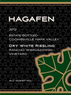 2012 Hagafen Dry White Riesling Napa Valley